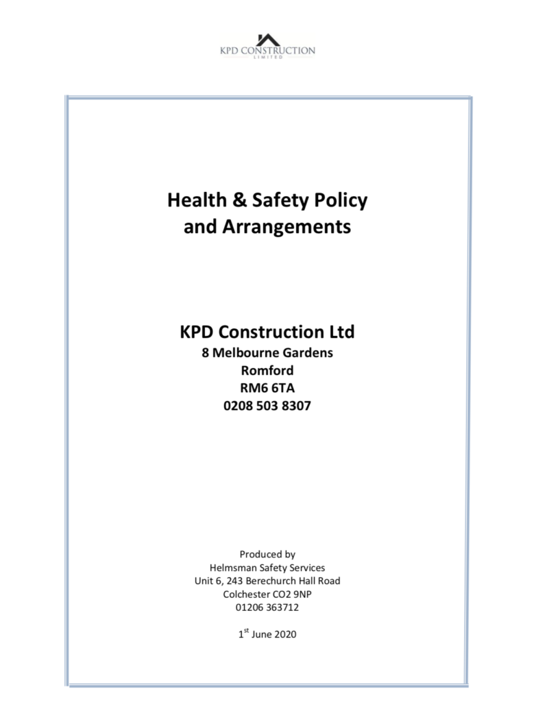 Health and safety policy screenshot