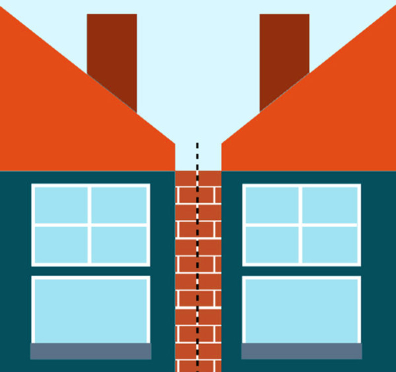 Graphic illustration showing what a party wall is