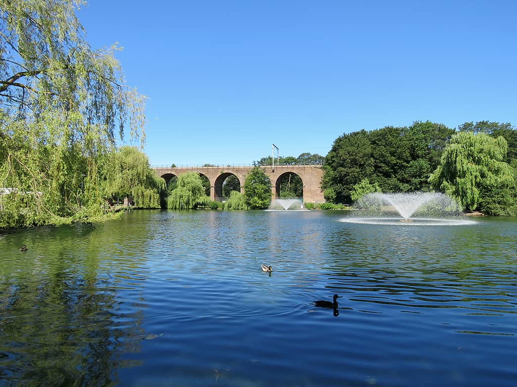 Central Park lake in Chelmsford, Essex