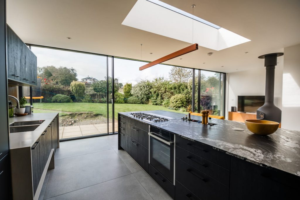 View from inside of kitchen extension by, KPD builders in North London