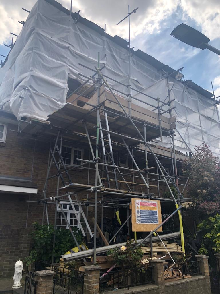 Scaffold setup for our building project in Romford